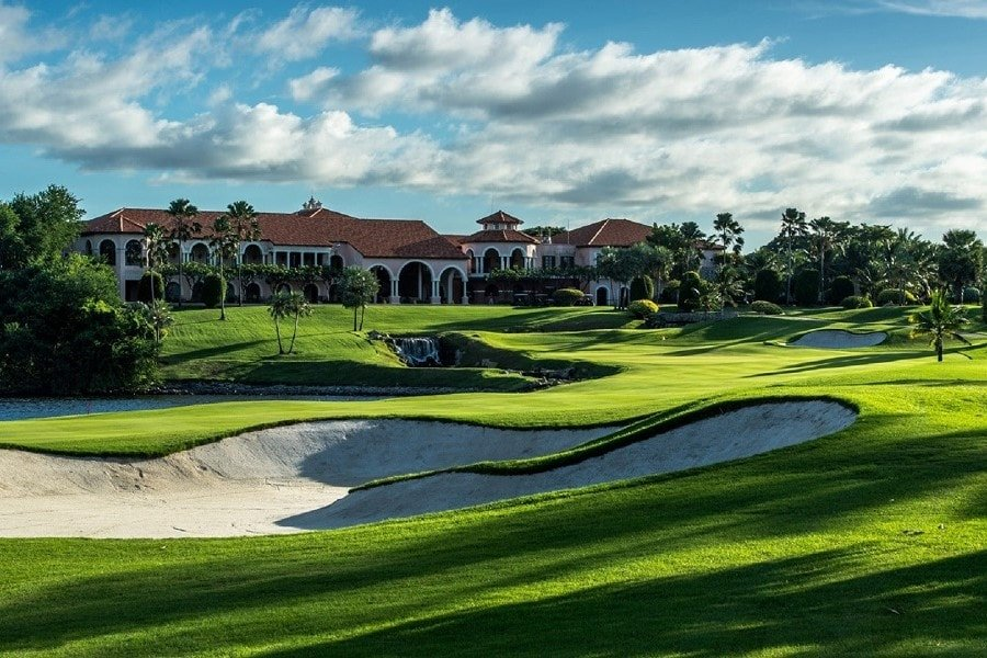 golf course and main building of Amata spring country club in Chonburi Thailand