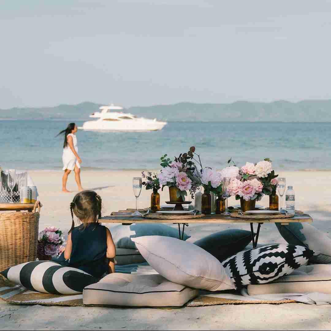 luxury brunch on the beach in Phuket Thailand