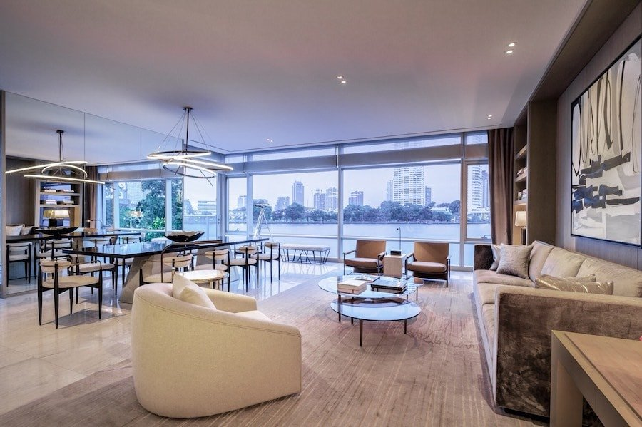 Interior with river view of the 5 bedrooms penthouse at the Four Seasons Private Residences