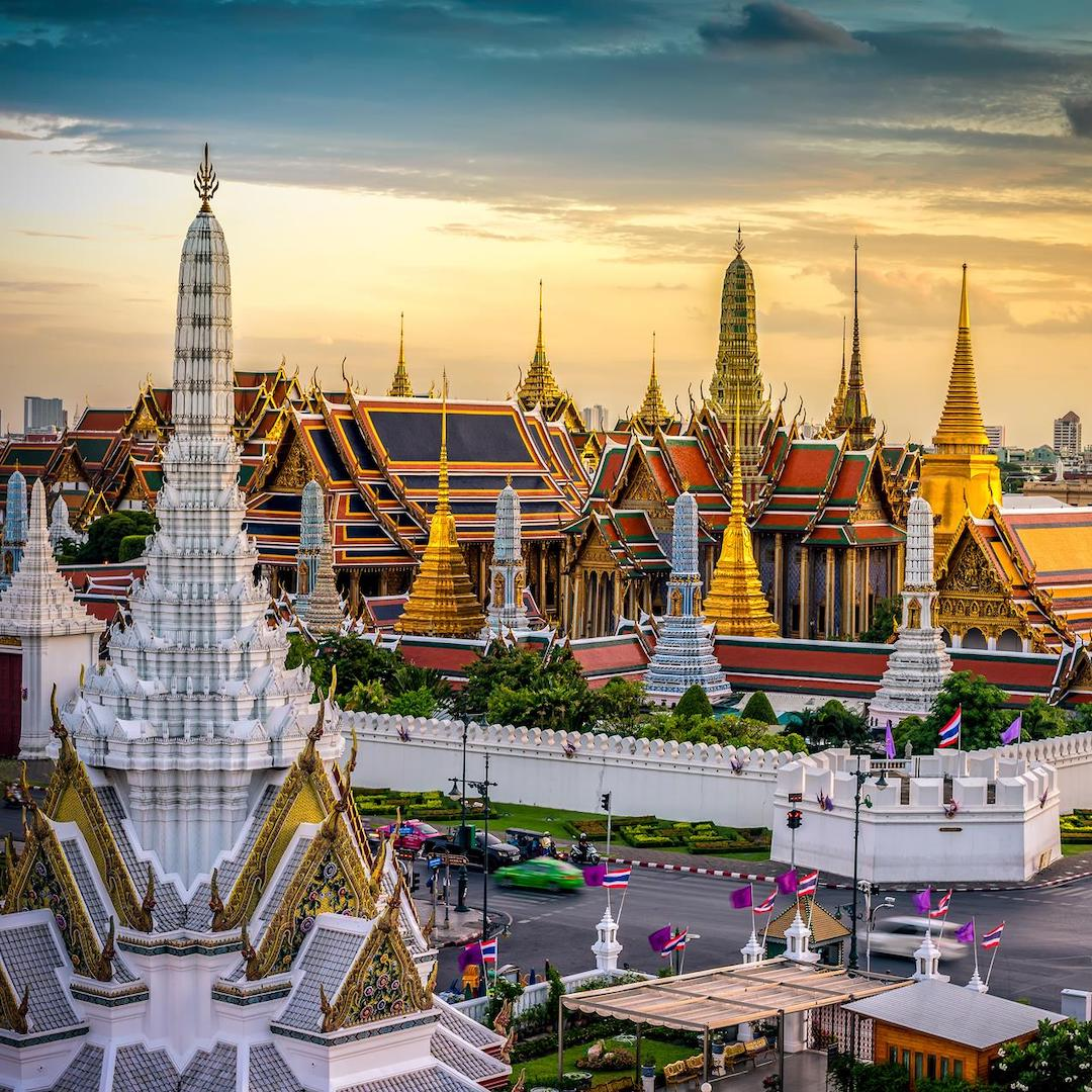 grand palace in Bangkok during the sunset