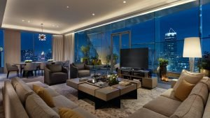 interior of the luxury presidential suite of the park hyatt hotel in Bangkok at night