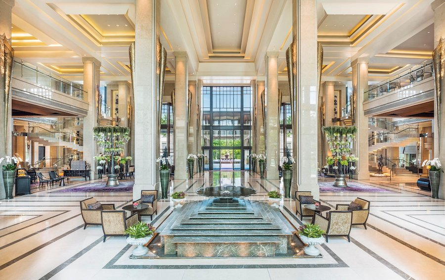 lobby of the luxury hotel Siam Kempinski in Bangkok