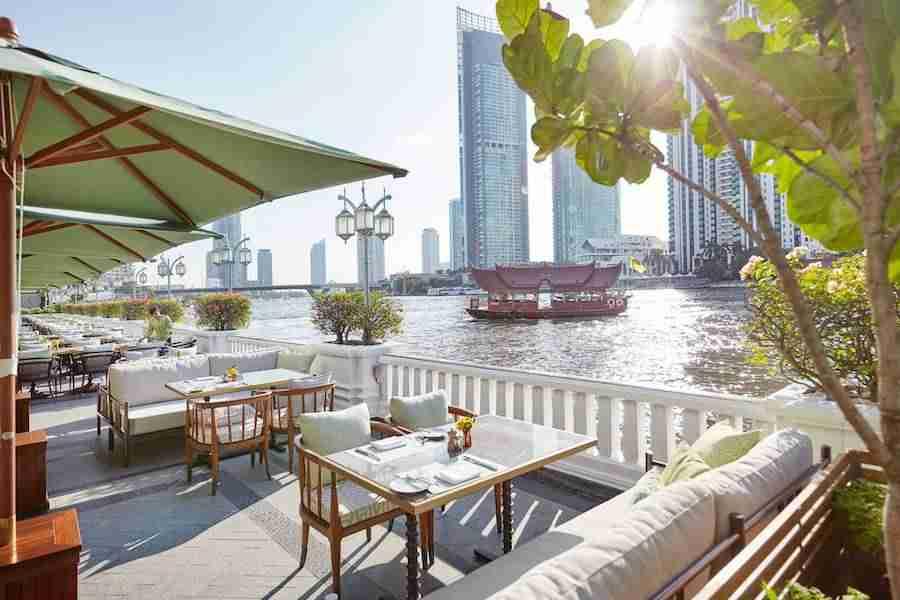 river side terrace at the Mandarin Oriental Bangkok hotel