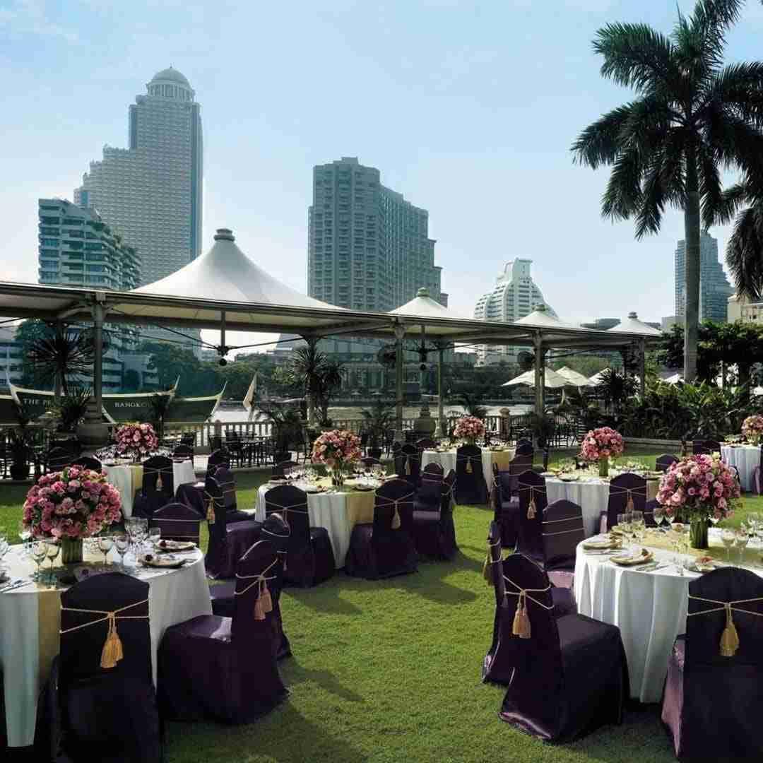 banquet set up at the garden of the Peninsula hotel in Bangkok Thailand