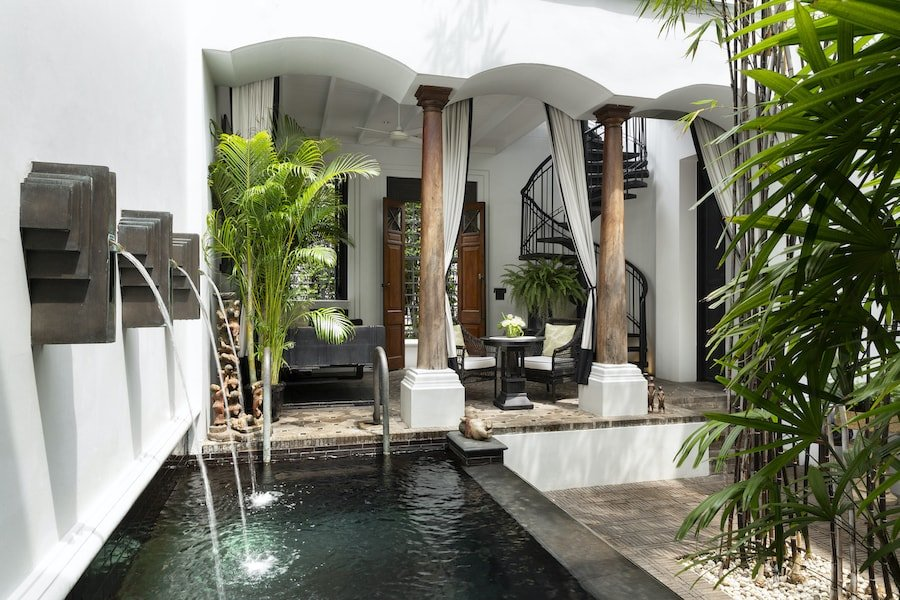 interior of the pool villa river view at The Siam hotel courtyard in Bangkok