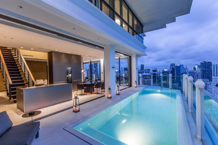 private pool at the Luxury Duplex Penthouse at Raffine 39 in Bangkok