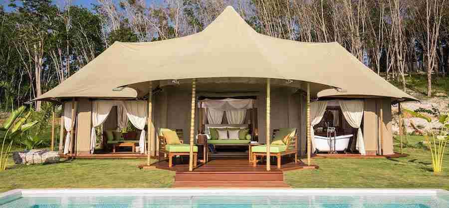 tent at Koyao island resort in Thailand