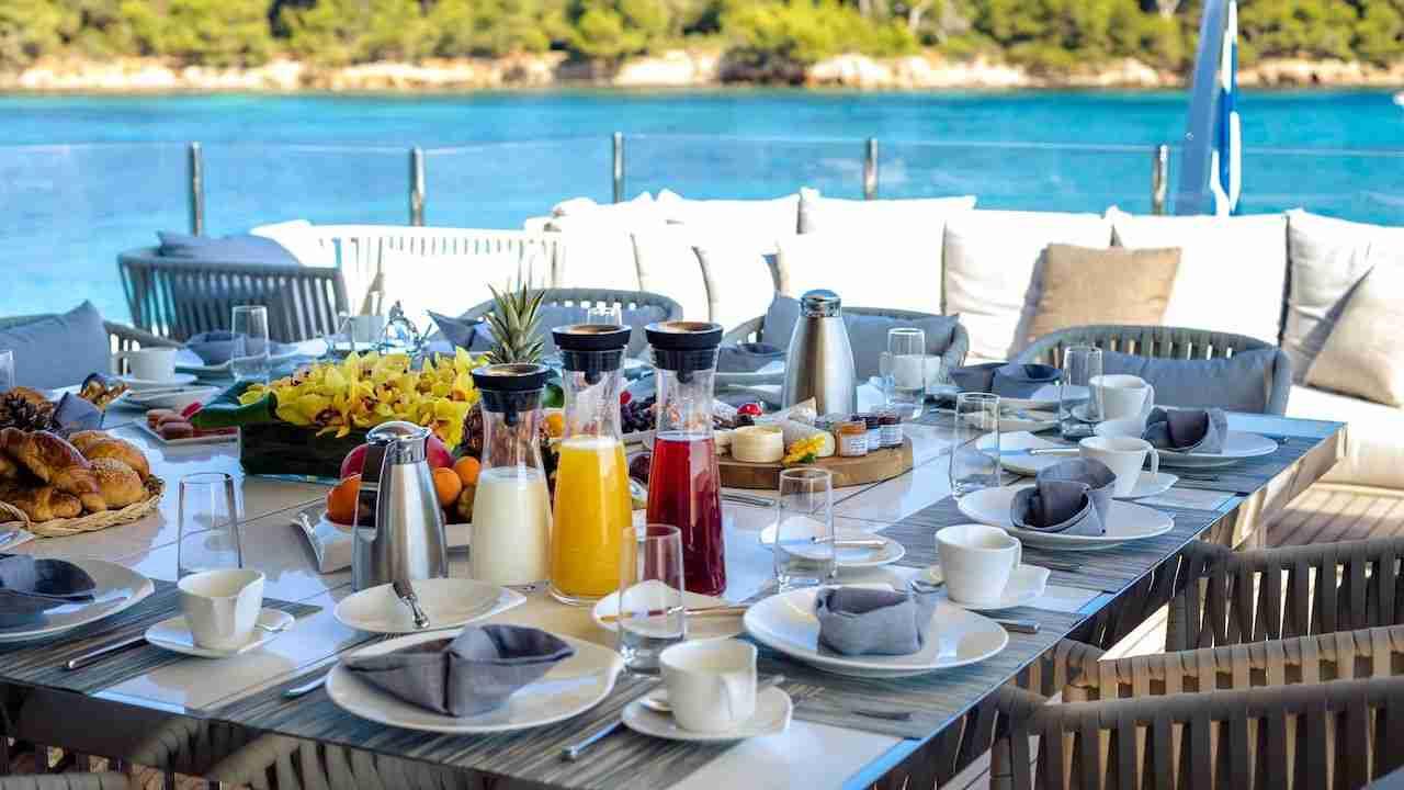 vip breakfast on a luxury yacht in Thailand