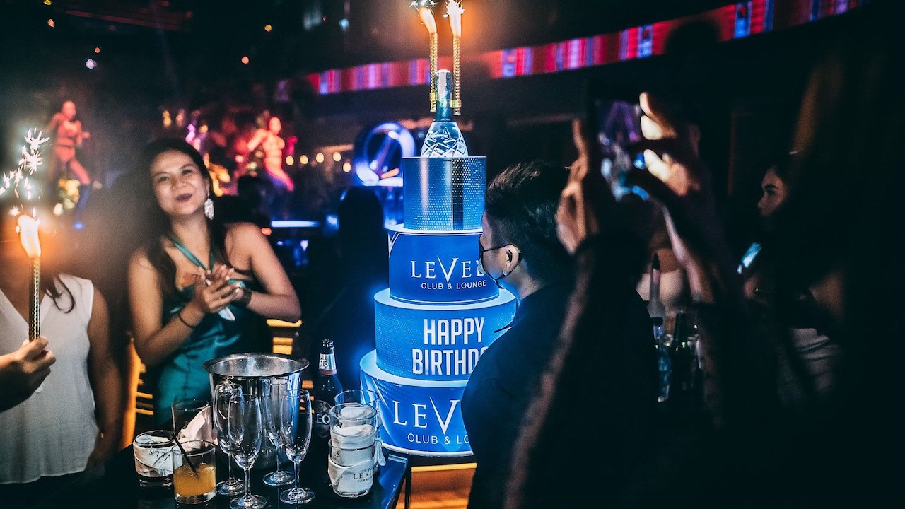 VIP table at Level Nightclub in Bangkok for a birthday