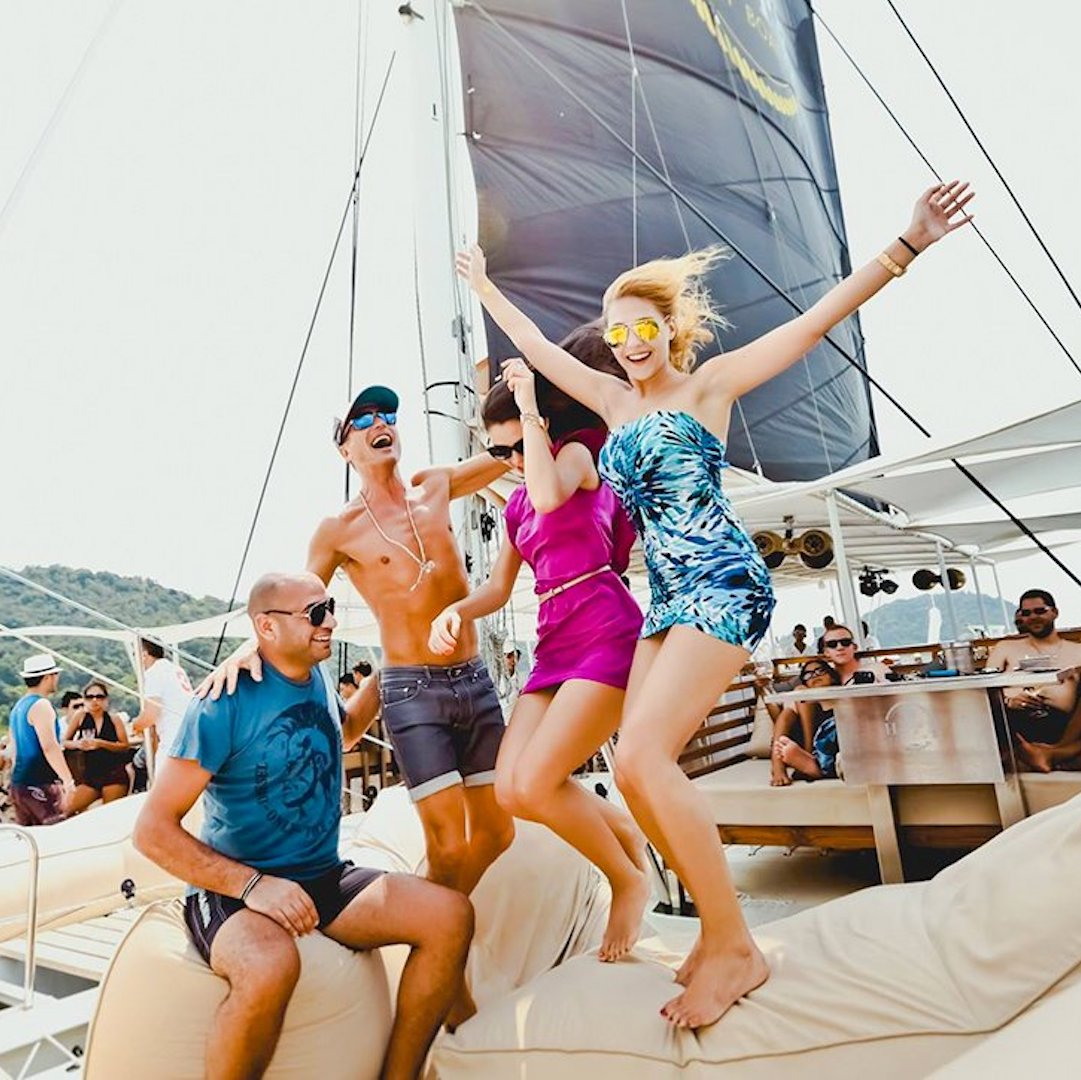 yacht party on a sailing boat in Phuket Thailand